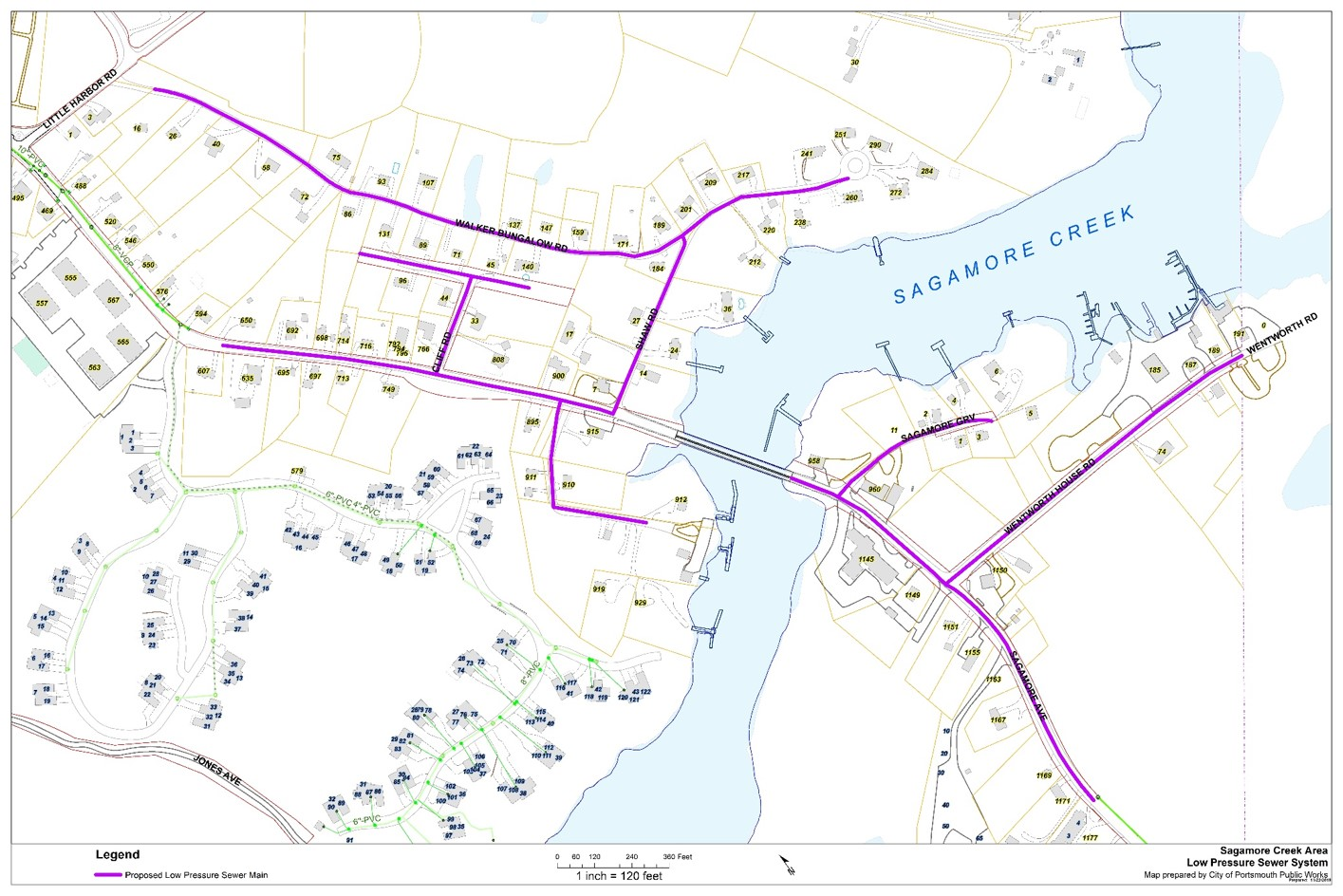 Sagamore Ave. sewer extension project map.