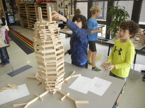 5th grade students at Little Harbour build plank structures
