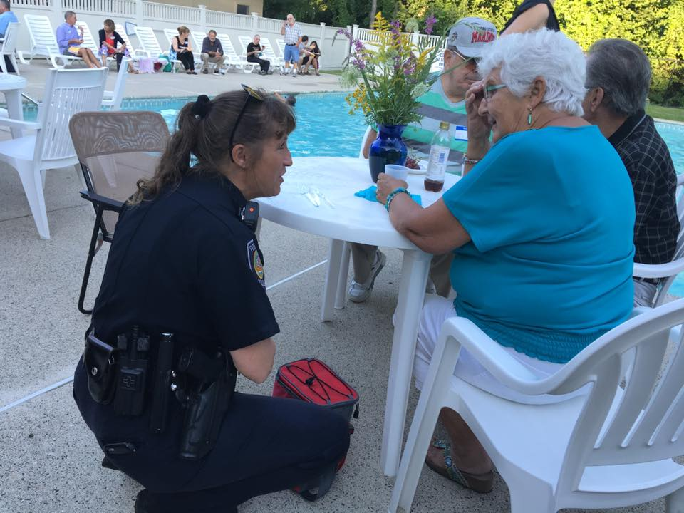 Officer Meyers talking with a citizen