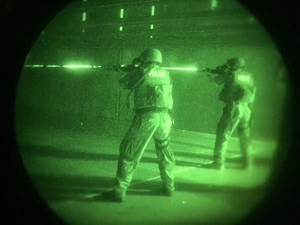 View of SERT through Night Vision goggles