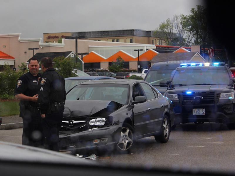 Patrol units at the scene of an accident