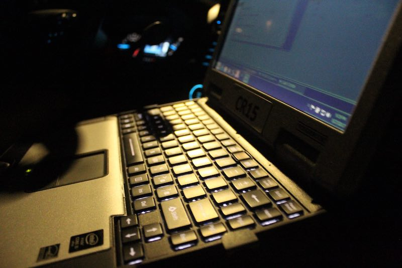 Laptop in Police Cruiser at night