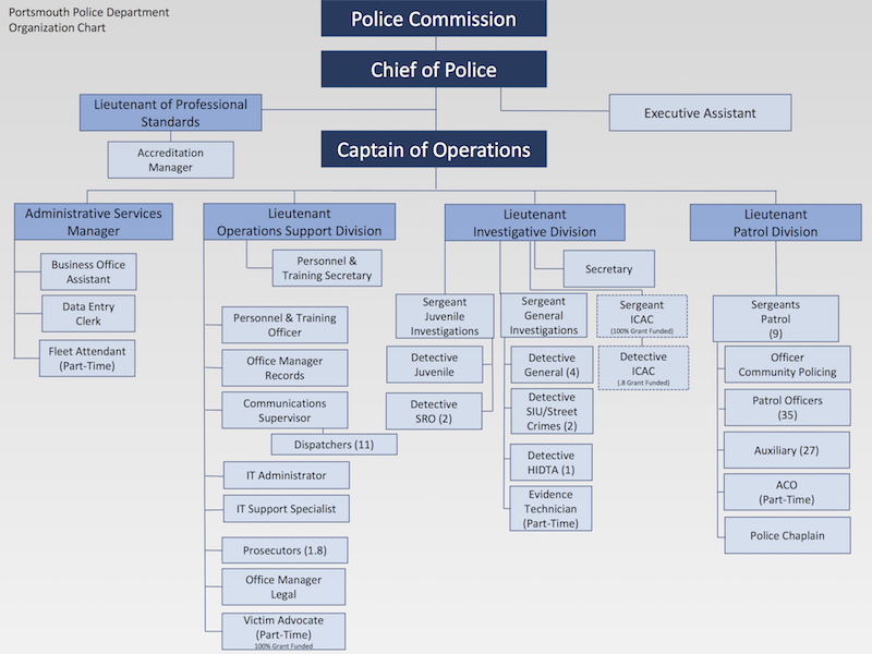 Organizational Chart representing the Police Department structure