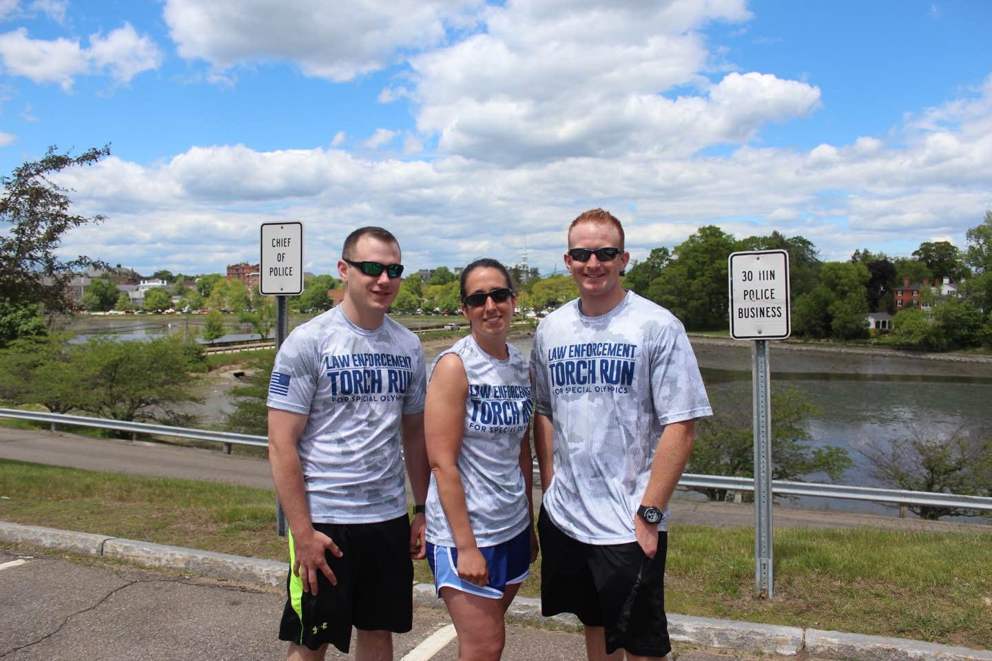 Police officers in running gear for the Torch Run