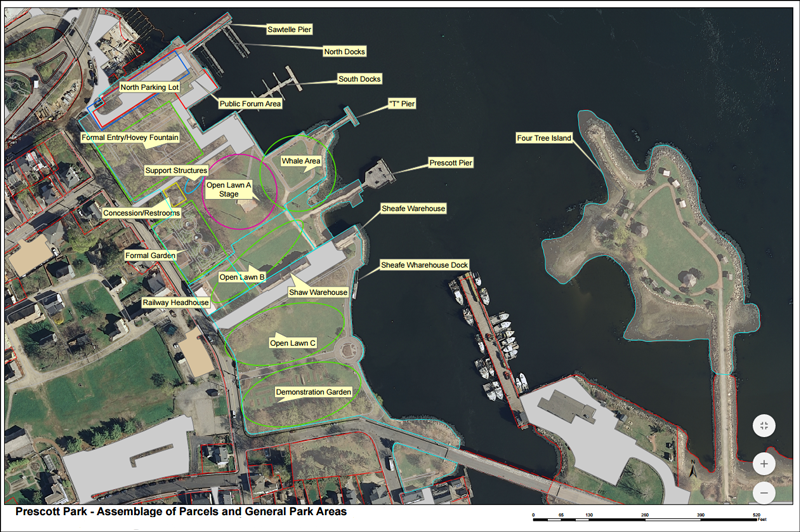 Aerial map of Prescott Park and Four Tree Island