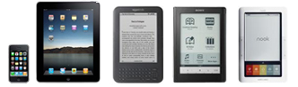 iPhone, iPad, Kindle, Sony Reader, and a Nook