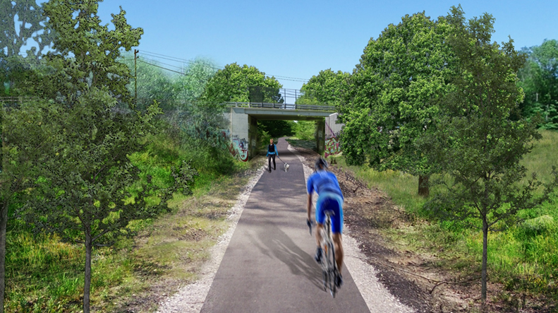 The Future Rail Trail at the Route 33 Overpass