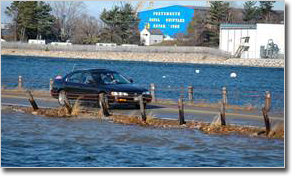 Coastal Resilience view of car driving along high waters