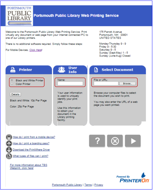 Screenshot of the Web Printing Service at the Library
