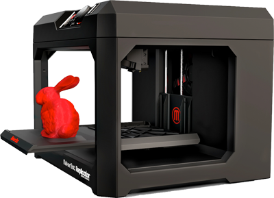 MakerBot with a 3D printed rabbit