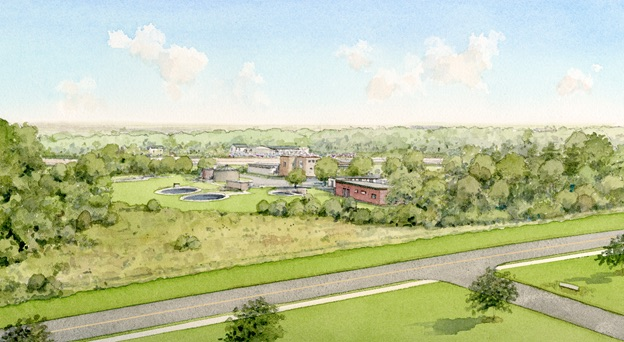 Proposed New Headworks Building Rendering from Corporate Drive Looking Southeast