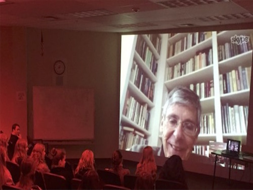 Skyping with Author Dr. Jackson Bryer at Portsmouth High School