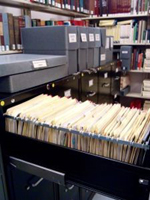 Photo of vertical files in filing cabinet