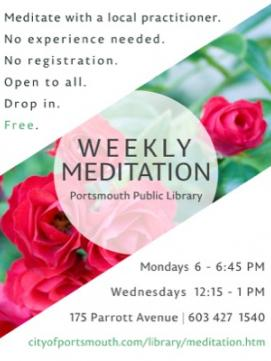Weekly Meditation poster - links to Weekly Meditation page with more information