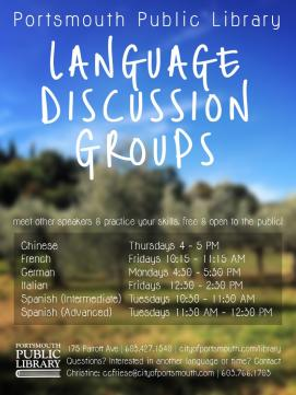 Language Discussion Group Poster - links to Language Discussion Group page with more information