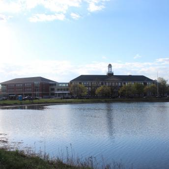 Portsmouth Middle School building from across the pond