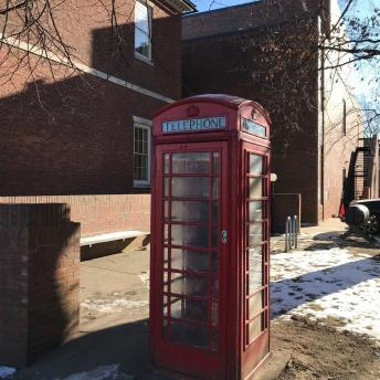 Old English Telephone Booth, Located at the Old Library Building