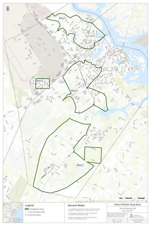 Map of Sewer Infiltration Study areas