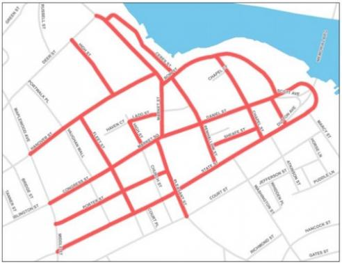 Map of the updates to the downtown trash collection schedule